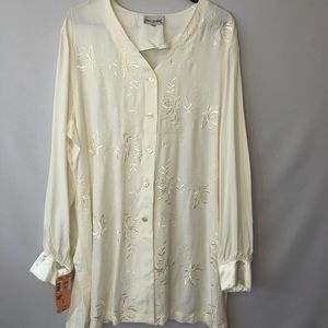 San Andre Ivory Embroidered Blouse Womens Size 1X